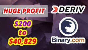 Huge Profit // $200 to $40,829 // Deriv Binary.com – Rise Fall Strategy – Volatility 25 Index
